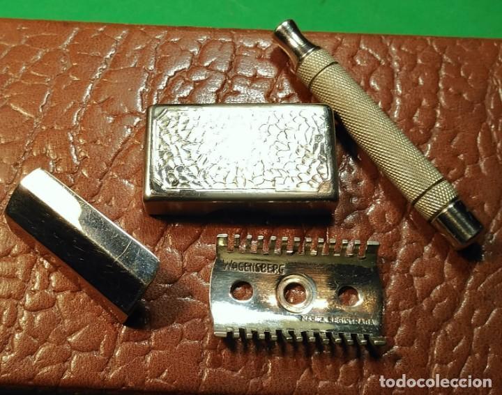 Antigüedades: Estuche cuero afeitar WAGENSBERG marca Española, maquinilla Excelente. safety razor - Foto 7 - 184136343