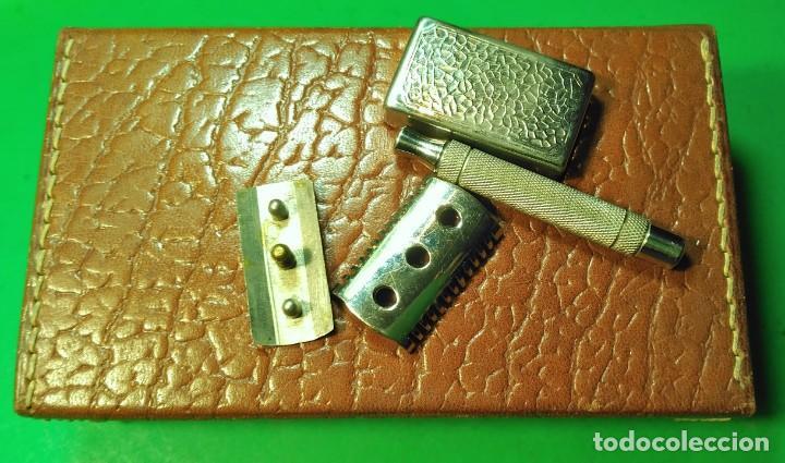 Antigüedades: Estuche cuero afeitar WAGENSBERG marca Española, maquinilla Excelente. safety razor - Foto 8 - 184136343