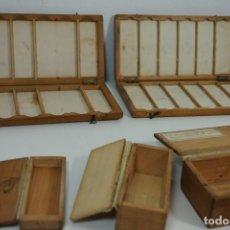 Antigüedades: MICROSCOPIO. COLECCIÓN DE ANTIGUOS ESTUCHES PARA PREPARACIONES MICROSCÓPICAS C.1890. Lote 184139571