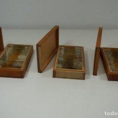Antigüedades: MICROSCOPIO. COLECCIÓN DE 75 PREPARACIONES MICROSCÓPICAS C.1900. Lote 184140268