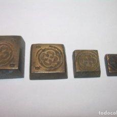 Antigüedades: MUY ANTIGUOS PONDERALES DE BRONCE.EN MUY BUEN ESTADO.SERIE COMPLETA.. Lote 184350656