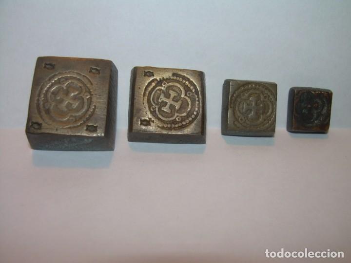 Antigüedades: MUY ANTIGUOS PONDERALES DE BRONCE.EN MUY BUEN ESTADO.SERIE COMPLETA. - Foto 3 - 184350656