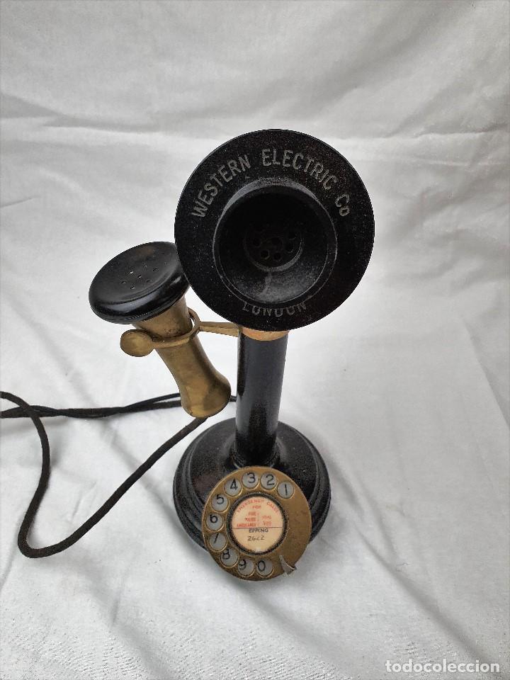 ANTIGUO TELEFONO DE CANDELABRO. WESTERN ELECTRIC LONDON (Antigüedades - Técnicas - Teléfonos Antiguos)