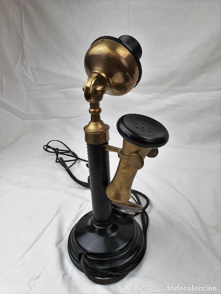 Teléfonos: Antiguo telefono de candelabro. Western Electric London - Foto 4 - 184506647