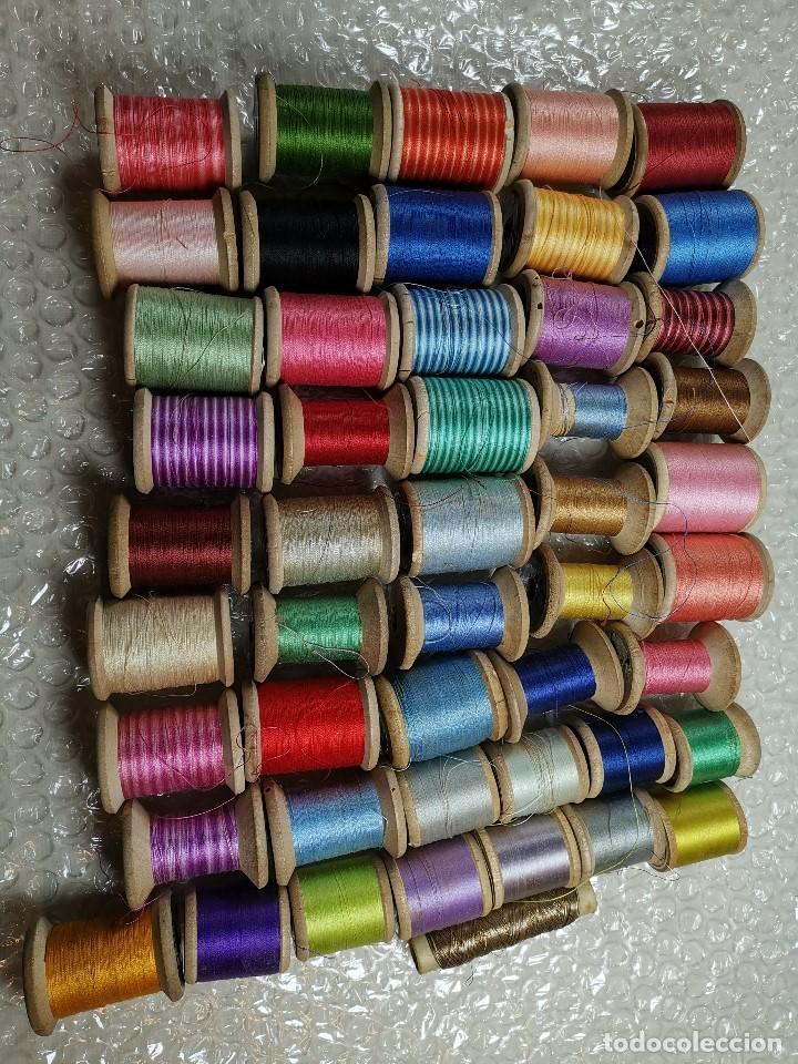 Antigüedades: Lote 49 Antiguos Carretes Madera Carrete Bobina Hilo Coser y Bordar Fabra y Coats Y OTROS - Foto 26 - 184654873