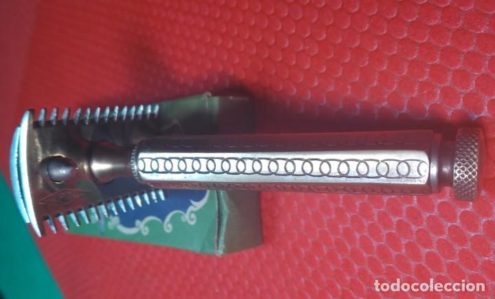 Antigüedades: F H. Buen estado y Completa, Española, maquinilla de afeitar, cuchilla, safety razor - Foto 2 - 184664908