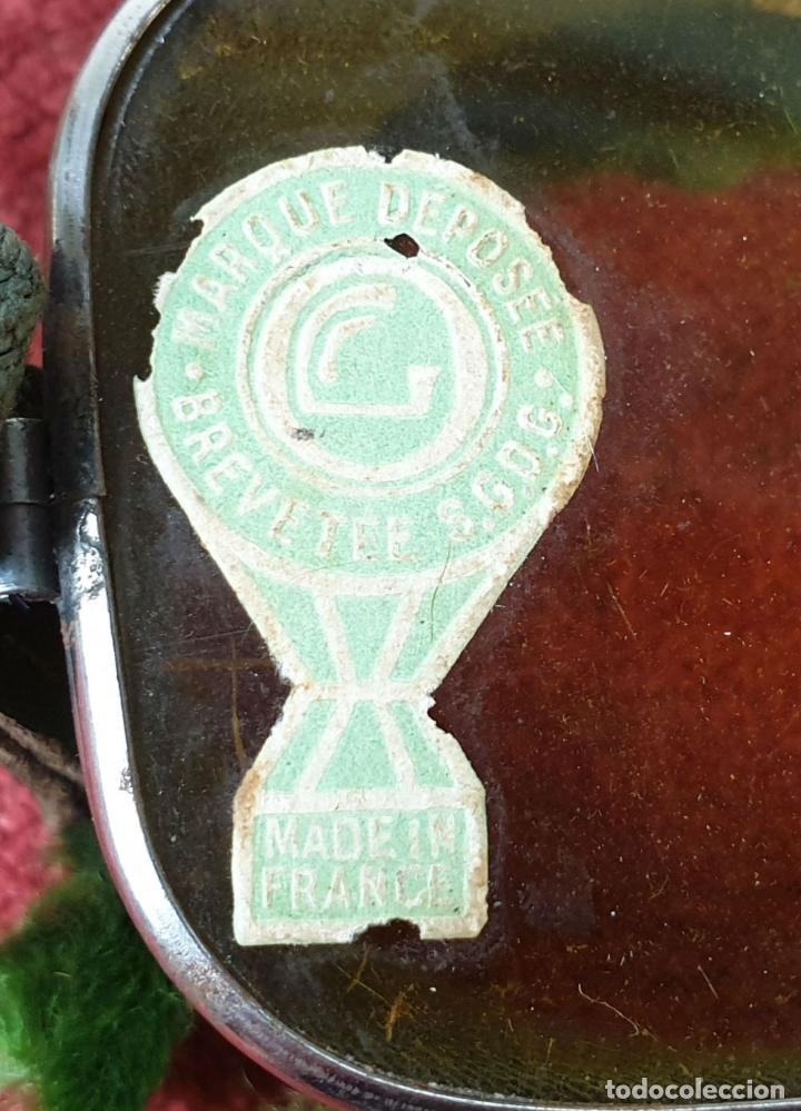 Antigüedades: COLECCION DE 3 PARES DE GAFAS PARA MOTO. CRUSTAL Y METAL. SIGLO XX. - Foto 2 - 210078460