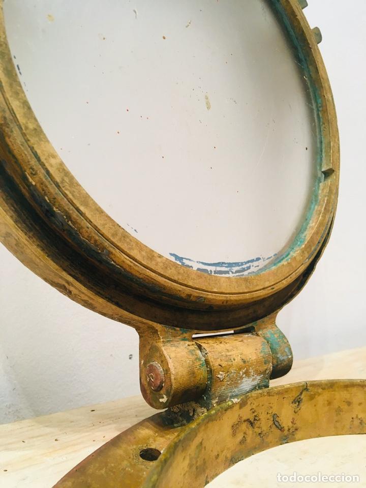 Antigüedades: ANTIGUO OJO DE BUEY DE BRONCE DE BARCO VENTANA EMBARCACIÓN NAVAL CAMAROTE NÁUTICO - Foto 9 - 184806960