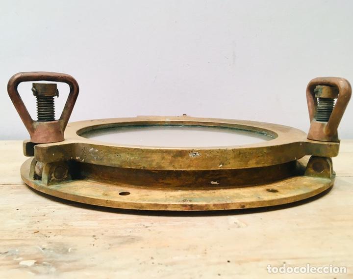 Antigüedades: ANTIGUO OJO DE BUEY DE BRONCE DE BARCO VENTANA EMBARCACIÓN NAVAL CAMAROTE NÁUTICO - Foto 11 - 184806960