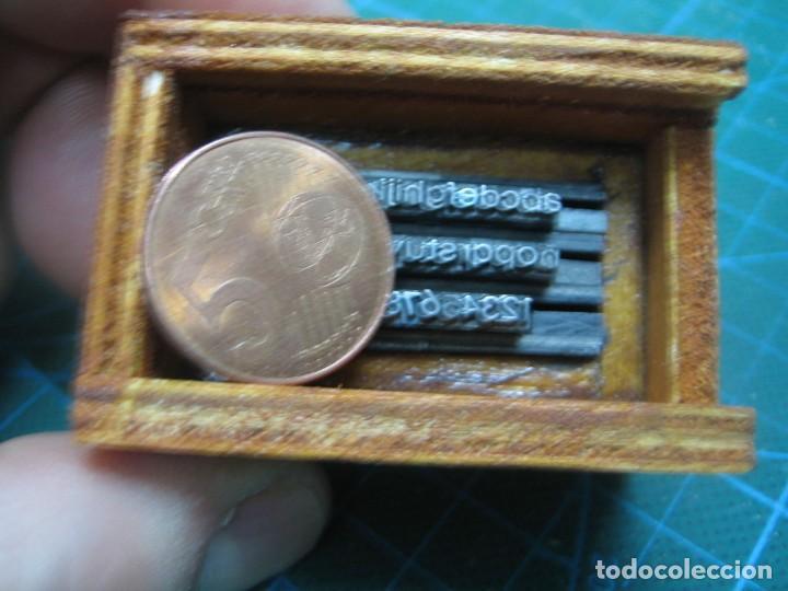 Antigüedades: IMPRENTA - LETRAS DE PLOMO - MINI CAJA 8 R- ABECEDARIO Y NUMEROS - Foto 2 - 185953537