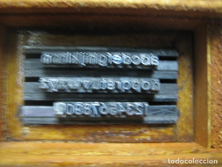 Antigüedades: IMPRENTA - LETRAS DE PLOMO - MINI CAJA 8 R- ABECEDARIO Y NUMEROS - Foto 3 - 185953537