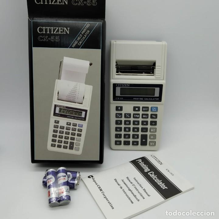 CALCULADORA CITIZEN CX-55 CON IMPRESORA DE MANO - NUEVA A ESTRENAR (Antigüedades - Técnicas - Aparatos de Cálculo - Calculadoras Antiguas)