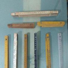 Antigüedades: LOTE 9 METROS ANTIGUOS PLEGABLES.. Lote 186103142