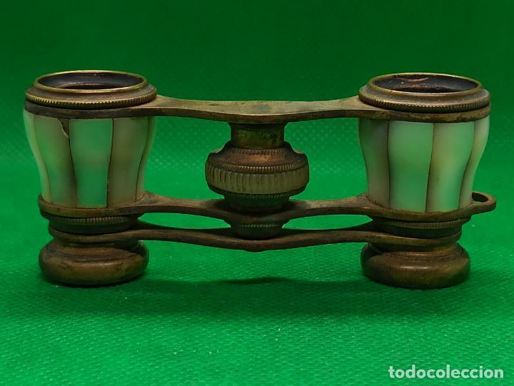 Antigüedades: BINOCULARES DE OPERA O TEATRO DE NACAR Y BRONCE - Foto 9 - 186126748