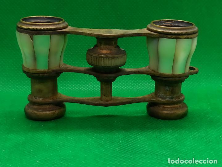 BINOCULARES DE OPERA O TEATRO DE NACAR Y BRONCE (Antigüedades - Técnicas - Instrumentos Ópticos - Binoculares Antiguos)