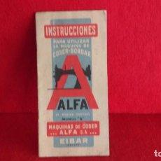 Antigüedades: MANUAL MAQUINA COSER ALFA MODELO A. Lote 186173488
