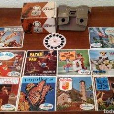 Antigüedades: VISOR ESTEREOSCÓPICO CON 31 DISCOS. Lote 186254097
