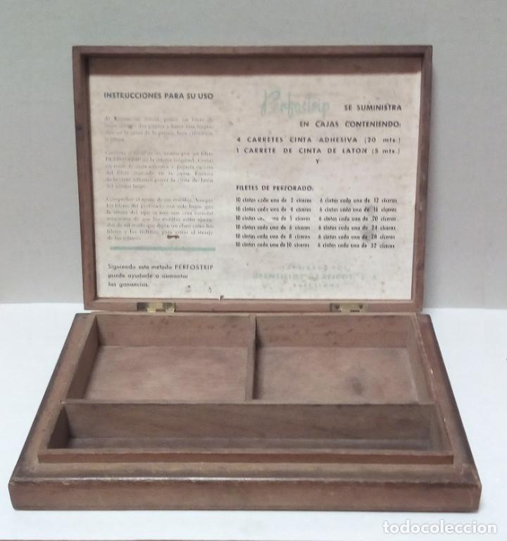 Antigüedades: Caja de Madera - Filetes de Impresión para Imprenta - Marca Perfostrip - Foto 5 - 186349032