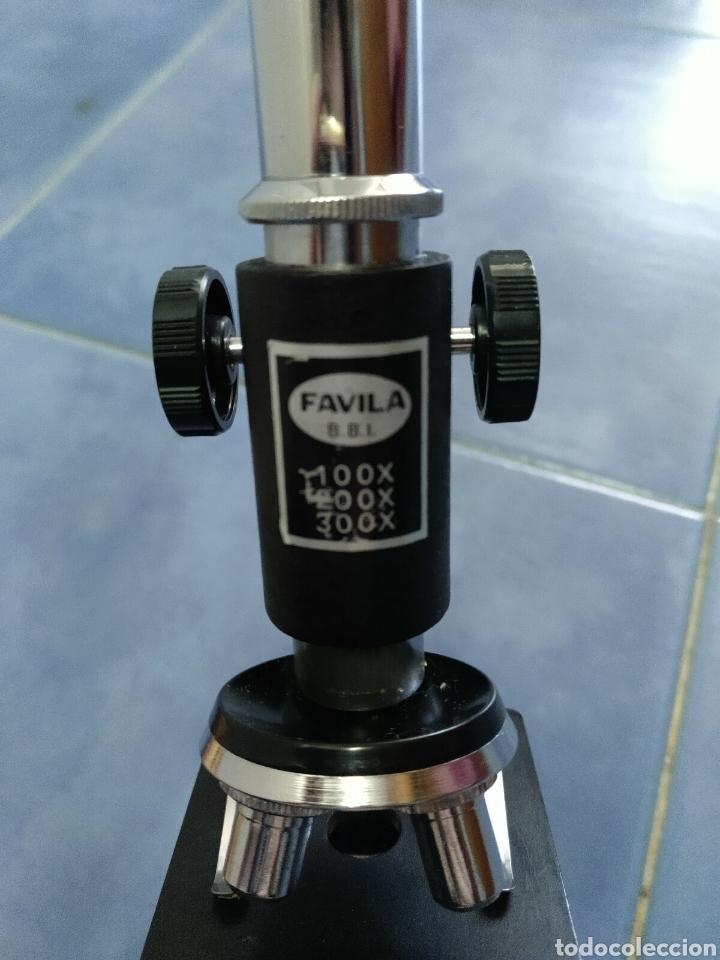 Antigüedades: Microscopio Favila años 80 con caja de madera - Foto 3 - 187025867