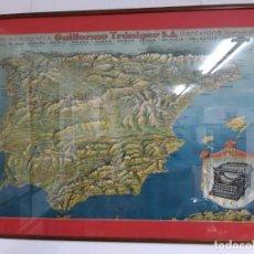 Antigüedades: CARTEL POSTER UNDERWOOD 5 Y MAPA DE ESPAÑA GUILLERMO TRÚNIGER.. Lote 187101928
