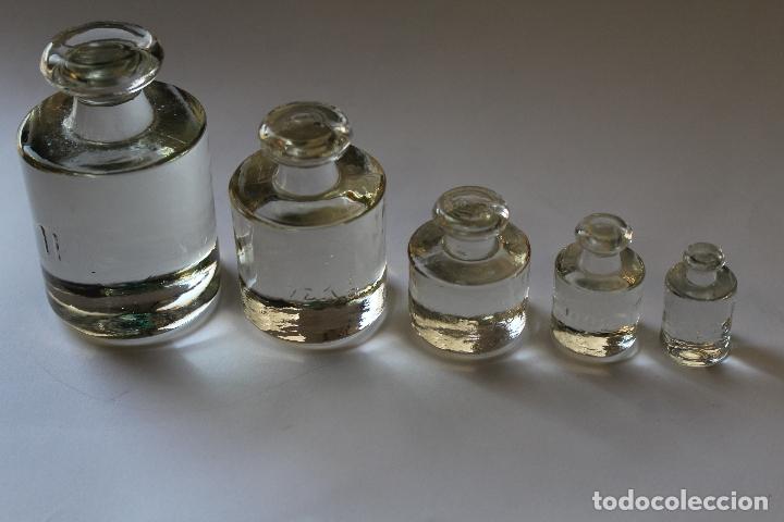Antigüedades: juego de ponderales -5 pesas en cristal - Foto 2 - 187133773