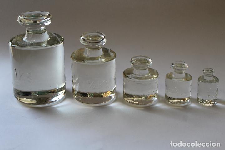 Antigüedades: juego de ponderales -5 pesas en cristal - Foto 3 - 187133773