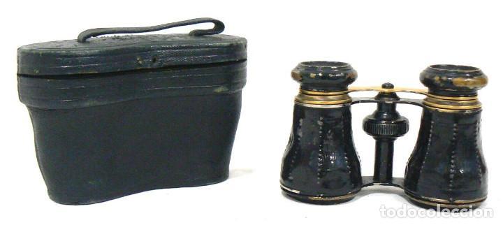 ANTIGUOS BINOCULARES DE LATÓN PINTADO EN NEGRO + FUNDA (Antigüedades - Técnicas - Instrumentos Ópticos - Binoculares Antiguos)