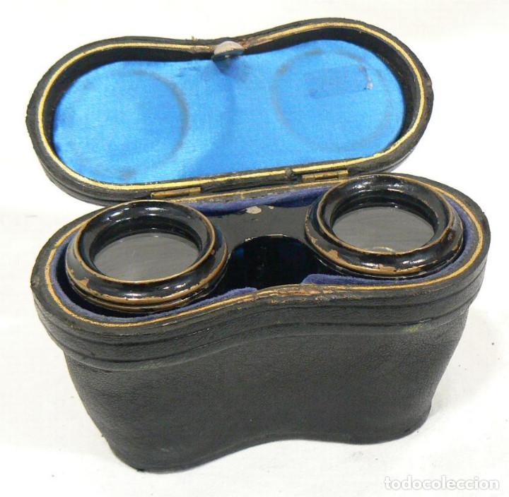 Antigüedades: Antiguos Binoculares de Latón pintado en negro + funda - Foto 6 - 187176377