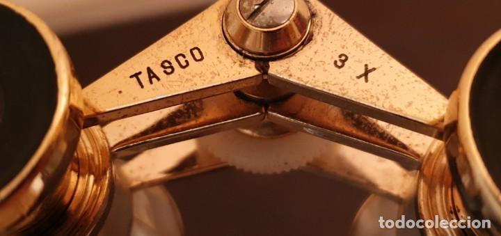 Antigüedades: BINOCULARES TASCO 3X BRONCE Y MADREPERLA - AÑOS 50 - Foto 4 - 187229587
