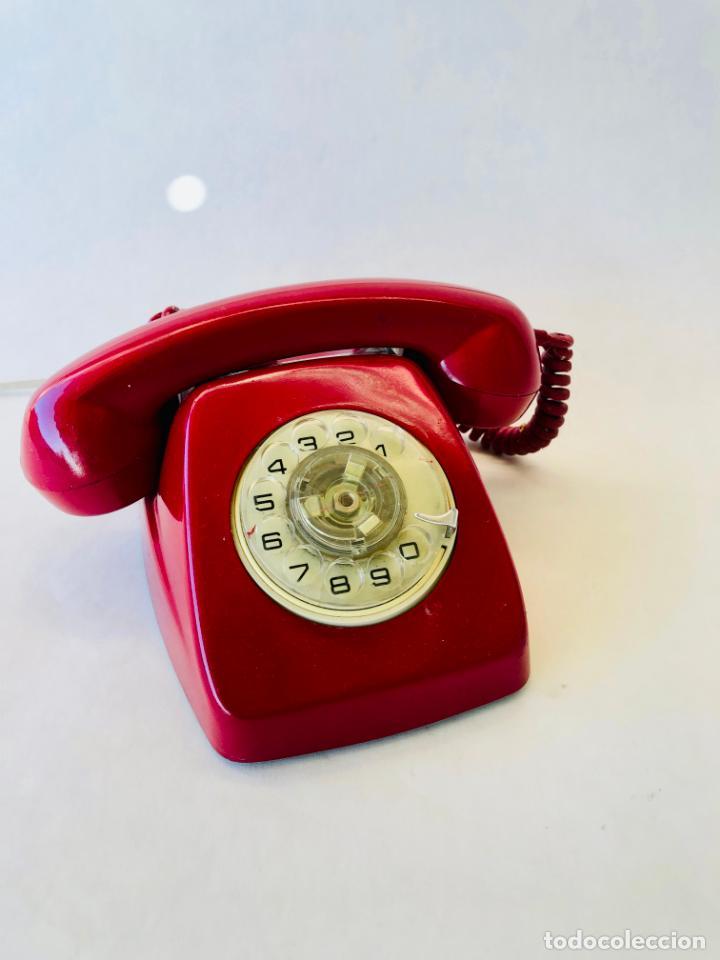 TELEFONO VINTAGE HERALDO DE DISCO DE CITESA TELEFONICA COLOR ROJO (Antigüedades - Técnicas - Teléfonos Antiguos)