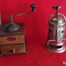Antigüedades: ANTIGUOS MOLINILLO CAFE ELMA EN MADERA Y CAFETERA AÑOS 40 EN BUEN ESTADO LOS 2. Lote 187427760
