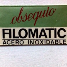Antigüedades: HOJA DE AFEITAR ANTIGUA,OBSEQUIO FILOMATIC,ACERO INOXIDABLE,SIN USAR.. Lote 187484533