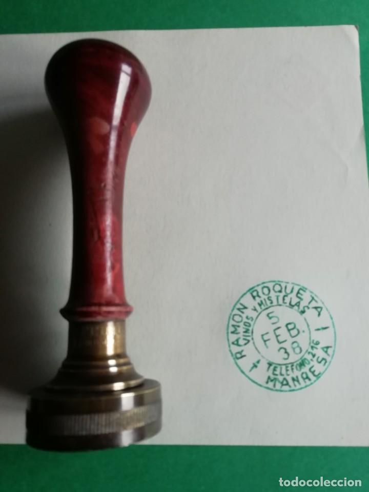 TAMPON ANTIGUO RAMON ROQUETA VINOS Y MISTELAS AÑO 1938 (Antigüedades - Técnicas - Herramientas Profesionales - Imprenta)