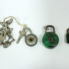 Antigüedades: 4 ANTIGUOS CANDADOS DE LATÓN Y HIERRO.. Lote 189623941