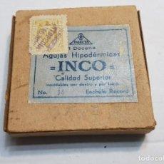 Antigüedades: CAJA ANTIGUA AGUJAS HIPODERMICAS INCO N° 14. Lote 189676842