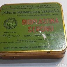 Antigüedades: CAJA ANTIGUA HOJALATA FARMACIA BIOPLASTINA SERONO VERDE RAREZA. Lote 189686337