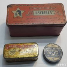 Antigüedades: CAJAS DE HOJALATA FARMACIA DISTINTAS ALGUNA ESCASA LOTE 3. Lote 189686707