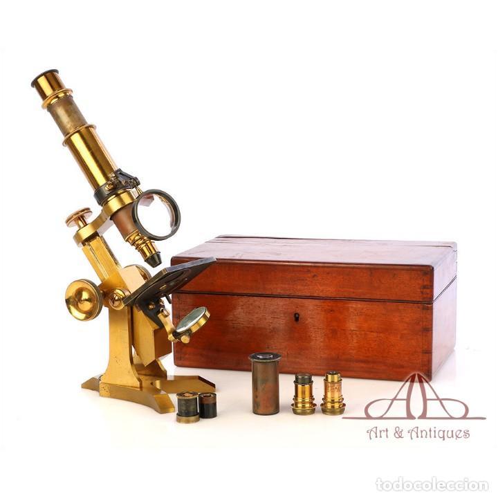 RARÍSIMO MICROSCOPIO INGLÉS ANTIGUO DE LATÓN PILLISCHER. INGLATERRA, CIRCA 1890 (Antigüedades - Técnicas - Instrumentos Ópticos - Microscopios Antiguos)
