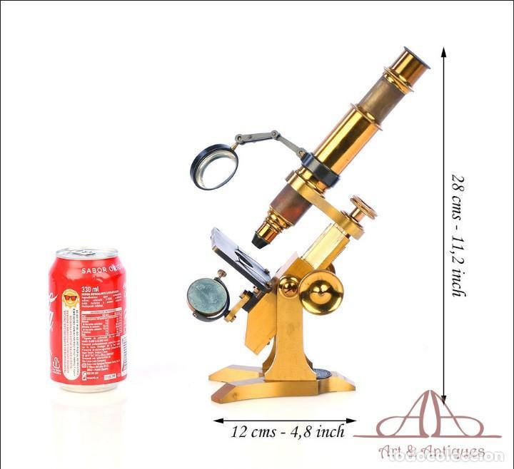 Antigüedades: Rarísimo Microscopio Inglés Antiguo de Latón Pillischer. Inglaterra, Circa 1890 - Foto 2 - 189728966