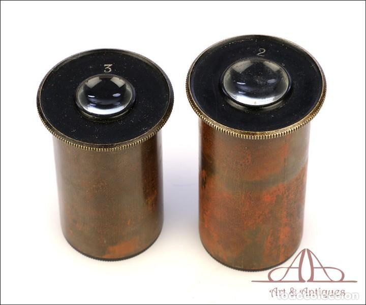 Antigüedades: Rarísimo Microscopio Inglés Antiguo de Latón Pillischer. Inglaterra, Circa 1890 - Foto 7 - 189728966