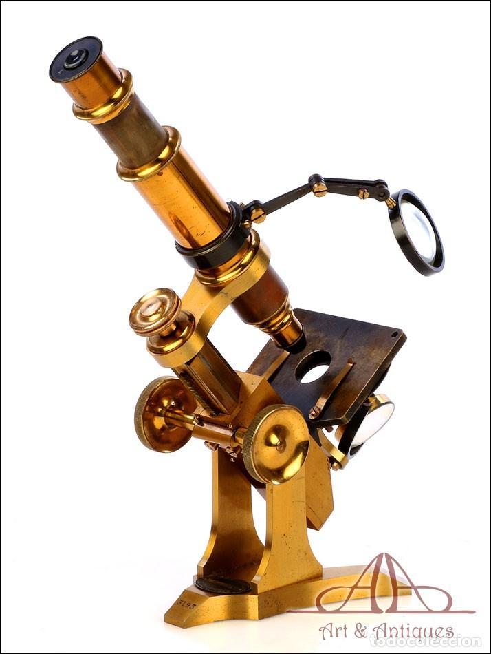 Antigüedades: Rarísimo Microscopio Inglés Antiguo de Latón Pillischer. Inglaterra, Circa 1890 - Foto 9 - 189728966