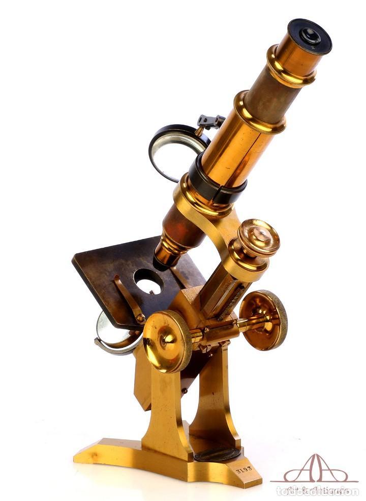 Antigüedades: Rarísimo Microscopio Inglés Antiguo de Latón Pillischer. Inglaterra, Circa 1890 - Foto 10 - 189728966