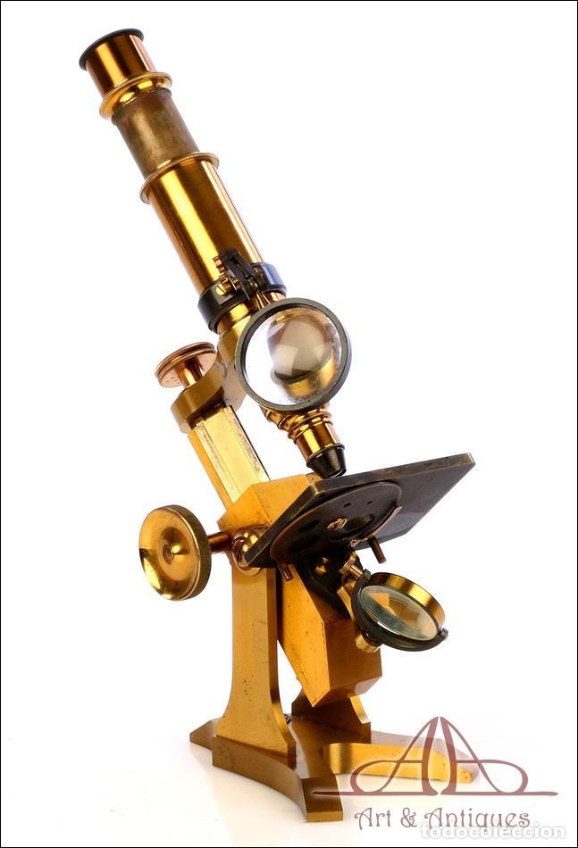 Antigüedades: Rarísimo Microscopio Inglés Antiguo de Latón Pillischer. Inglaterra, Circa 1890 - Foto 11 - 189728966