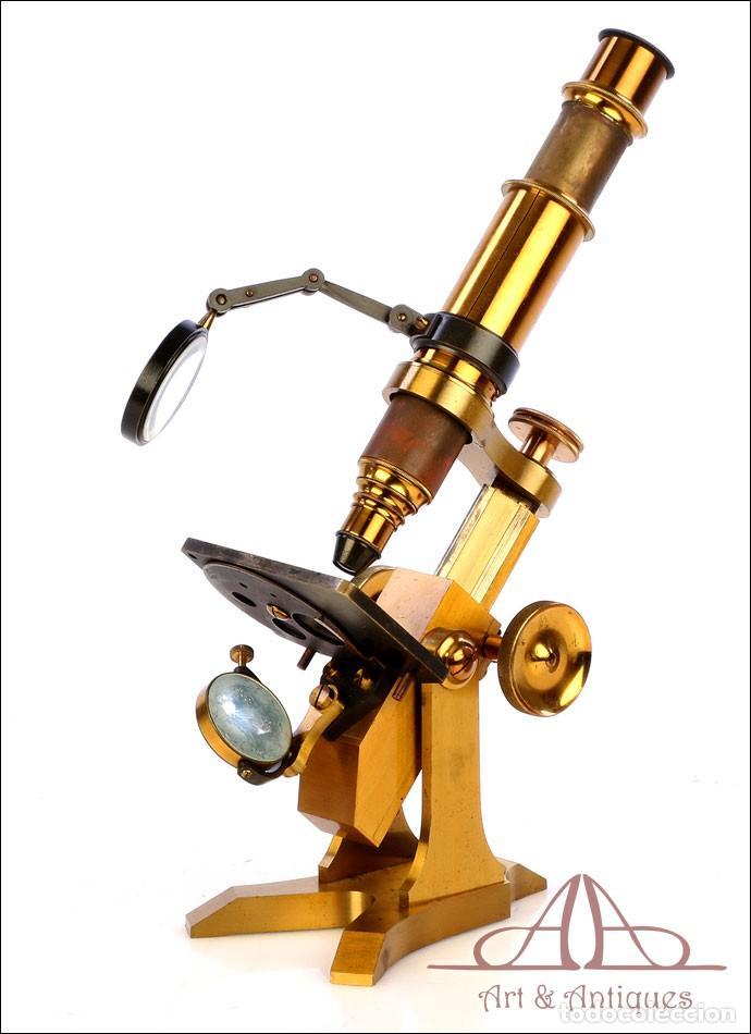 Antigüedades: Rarísimo Microscopio Inglés Antiguo de Latón Pillischer. Inglaterra, Circa 1890 - Foto 12 - 189728966
