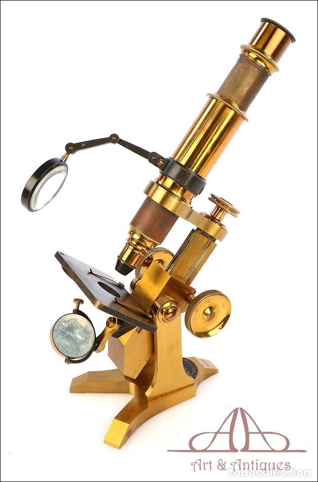 Antigüedades: Rarísimo Microscopio Inglés Antiguo de Latón Pillischer. Inglaterra, Circa 1890 - Foto 13 - 189728966