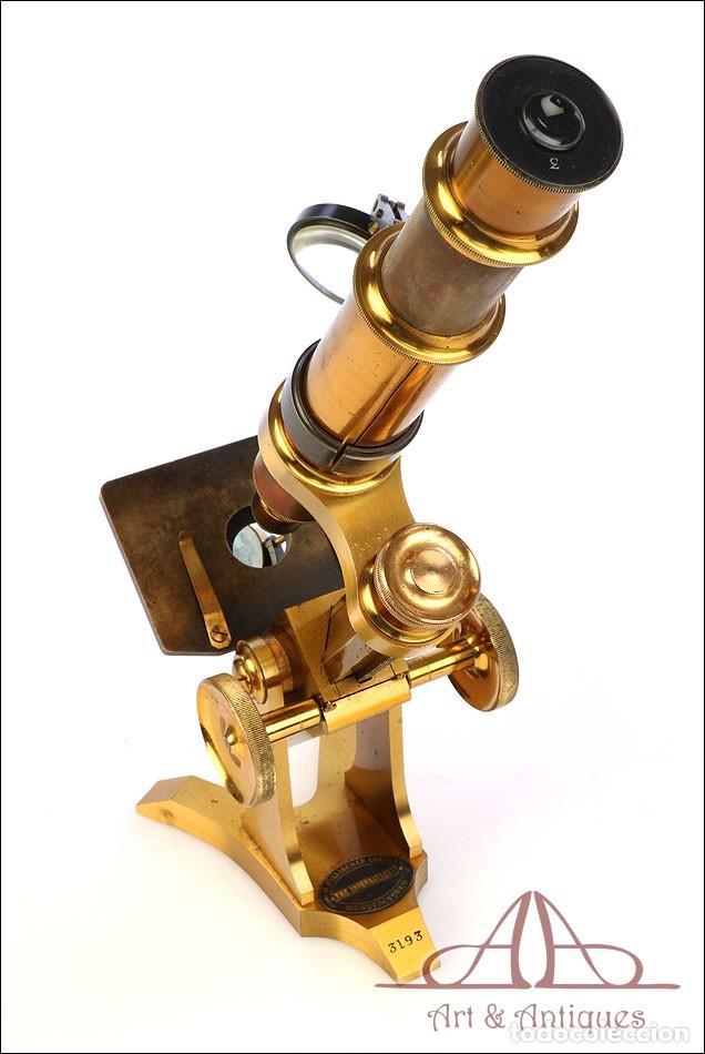 Antigüedades: Rarísimo Microscopio Inglés Antiguo de Latón Pillischer. Inglaterra, Circa 1890 - Foto 14 - 189728966