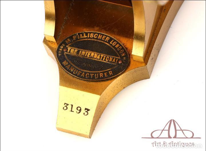 Antigüedades: Rarísimo Microscopio Inglés Antiguo de Latón Pillischer. Inglaterra, Circa 1890 - Foto 15 - 189728966