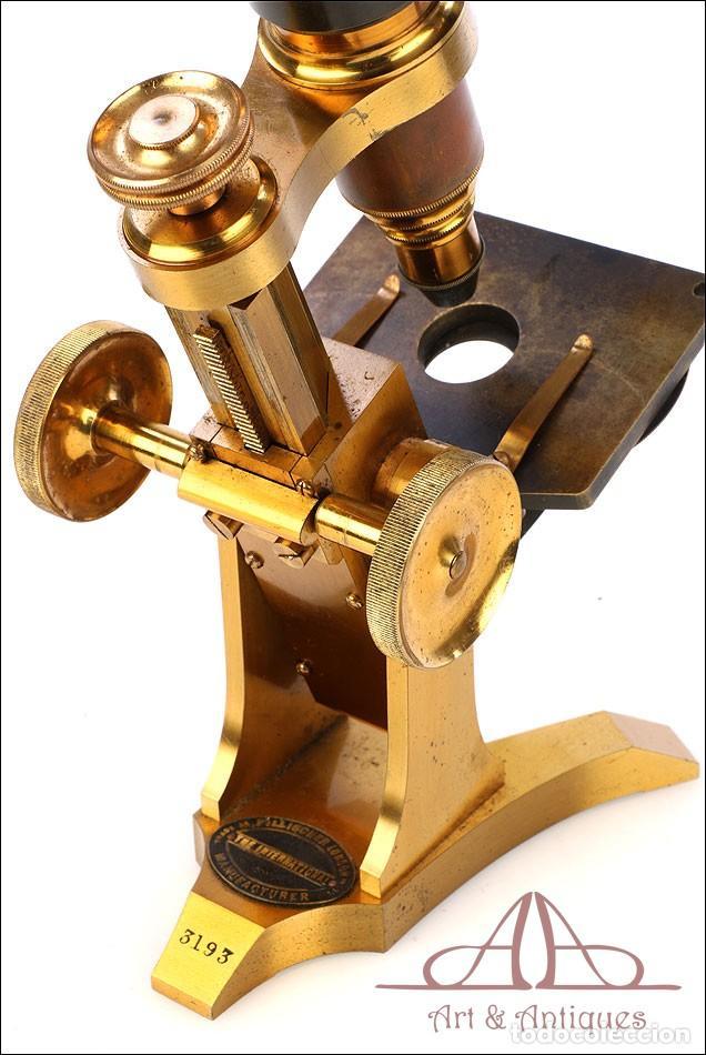 Antigüedades: Rarísimo Microscopio Inglés Antiguo de Latón Pillischer. Inglaterra, Circa 1890 - Foto 16 - 189728966