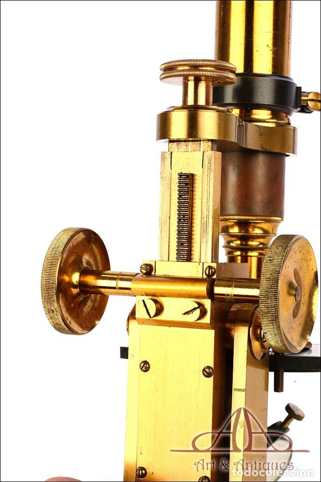 Antigüedades: Rarísimo Microscopio Inglés Antiguo de Latón Pillischer. Inglaterra, Circa 1890 - Foto 17 - 189728966