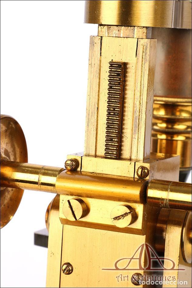 Antigüedades: Rarísimo Microscopio Inglés Antiguo de Latón Pillischer. Inglaterra, Circa 1890 - Foto 18 - 189728966